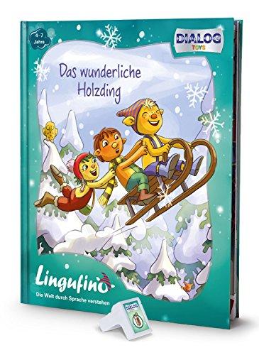 DIALOG TOYS DEDE-DT-LF01B Lingufino Erweiterungs-Set Das wunderliche Holzding mit Abenteuerbuch und Dialogmodul für den lingutastischen Kobold, der die Geschichte erzählt und echte führt (Edison-erweiterung)