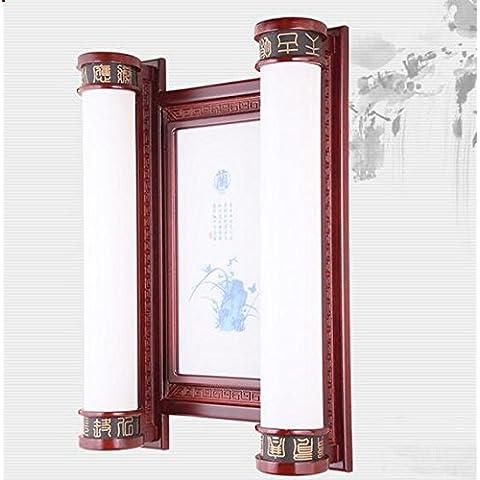"""TYDXSD Arte neo-cinese moderna stile prugna, orchidea, bambù e crisantemo atmosferica soggiorno solido legno parete lampada rettangolare parete lampada LED luce corridoio la camera da letto lampada di corridoio 400 * 740 * 170mm , """"orchid"""" pattern"""