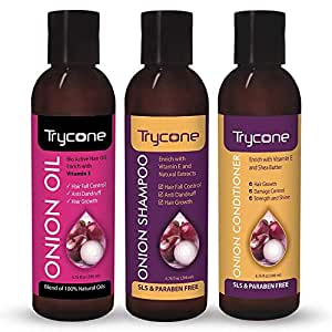 Trycone Onion Hair Growth Oil, Onion Shampoo and Onion Conditioner, Combo Pack of 3 - 600 Ml