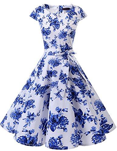 Dresstells Damen Vintage 50er Cap Sleeves Rockabilly Swing Kleider Retro Hepburn Stil Cocktailkleid White Blue Flower XL