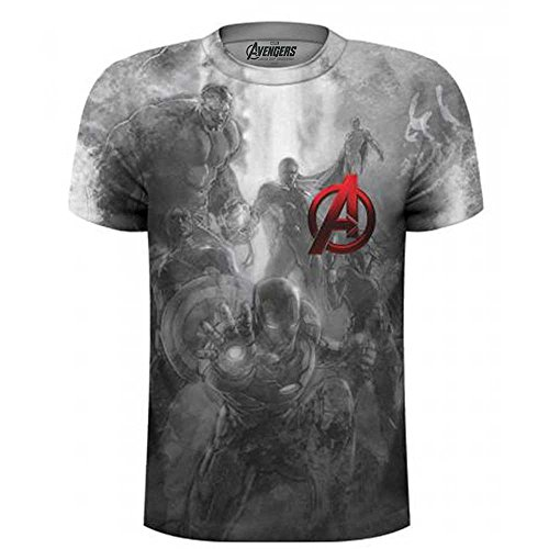 Rockoff Trade Herren T-Shirt Avengers Montage Pocket Logo Sublimation, Mehrfarbig, XL (Die Avengers Tshirt)