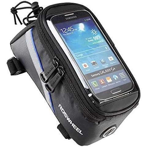 Lohai ciclismo/ROSWHEEL-Borsa per bicicletta, da telaio, tubo sterzo, anteriore, per Supporto cellulare in PVC, ultra trasparente, per schermo iphone 5/6/6s/5s 4 e 4s, Samsung Galaxy Note 2/3/4, S5/S4/S3 LG G3,/2, Sony Xperia Z3/Z2, Z