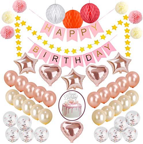 Best Memories Geburtstagsdeko+Tortendeko Mädchen Rosa Gold Banner Happy Birthday 50pcs deko Geburtstag (Roségold) (Happy-birthday-banner 50)