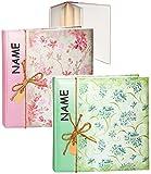 Unbekannt 1 Stück _ XL großes Fotoalbum / Fotobuch -  Blütenranken & Blumen - Rose / grün  - incl. Name - Gebunden zum Einkleben - blanko weiß - groß - 100 Seiten für..