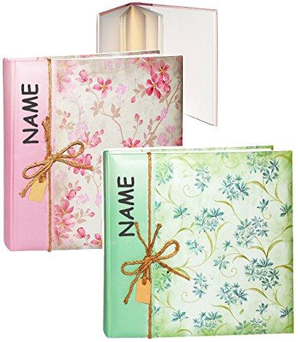 alles-meine.de GmbH 1 Stück _ XL großes Fotoalbum / Fotobuch -  Blütenranken & Blumen - Rose / grün  - incl. Name - Gebunden zum Einkleben - blanko weiß - groß - 100 Seiten für..