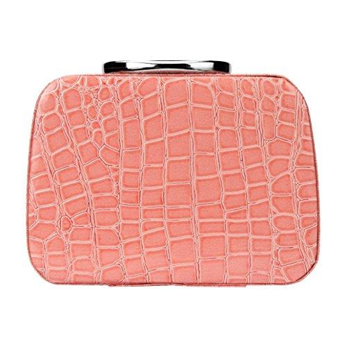 BZLine® Femme Trousse Maquillage en PU Cuir | Sac à Rangement/Boîte à Motif de pièrre | Taille: 20 x 8 x 14CM (Pink)