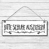 Bitte Schuhe ausziehen - Küche Maritim Anker Dekoschild Türschild Wandschild aus Holz 10x30cm - Holzdeko Holzbild Deko Schild