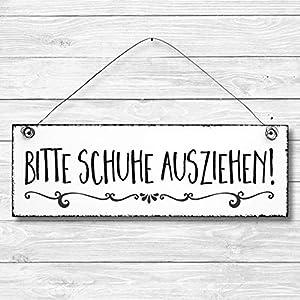 Bitte Schuhe ausziehen – Küche Maritim Anker Dekoschild Türschild Wandschild aus Holz 10x30cm – Holzdeko Holzbild Deko…