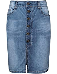 SUBLEVEL Damen Jeansrock mit Schlitz | Eleganter Denim Rock in Bleistift-Form knielang