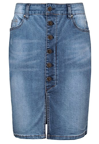 SUBLEVEL Damen Jeansrock mit Schlitz | Eleganter Denim Rock in Bleistift-Form knielang middle-blue M