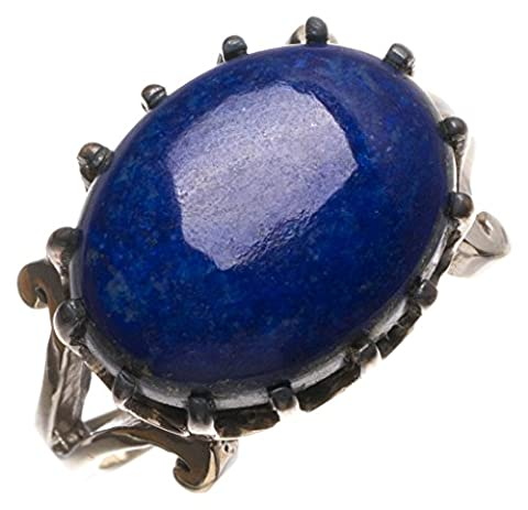 Stargems (TM) Lapis Lazuli naturelles fait à la main Unique Bague en argent sterling 925, taille P
