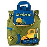 Rucksack Kindergartentasche mit Namen bedruckt Motiv Baustelle