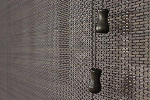 efixs premium bambusrollo rollup aus rundst bchen farbe grau bambus rollo bamboo. Black Bedroom Furniture Sets. Home Design Ideas