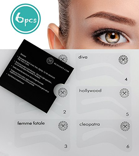 BLISSANY Augenbrauen Schablone für die perfekt gezupften und gleichmäßigen Augenbrauen, Augenbrauen pudern, Augenbrauen nachziehen, Augenbrauen Styling - 6 Styles für den perfekten Auftritt