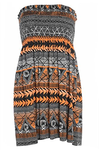 Womens Ladies Plus Size Sheering Boobtube Bandeau Strapless Top Vest Dress 8 22 Aztec Orange