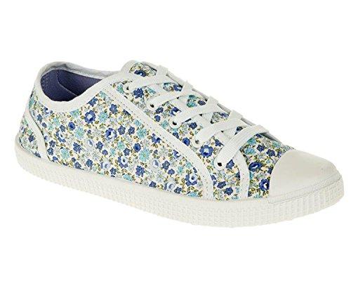 Womens Flat Plimsoles Casual Floral Lace Up Canvas Ladies Shoes Pumps Trainers (UK6, Blue Floral)