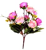 SS Décor Bunch of Artificial Roses of Pink & Violet Color (8 Roses)