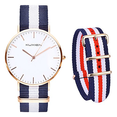 KUXIEN Damen Uhren,Unisex Armbanduhr Herren Damen Uhr,Analog Quarz Herrenuhr Damenuhr dünn Klassik Sportlich Armbanduhren, Ultra flach Nylon Casual Armbanduhr mit Ersatz Nylonband
