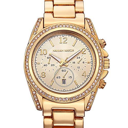 Ladies Watch Kalender Rose Gold Fashion Business Inlay Rhinestone Quartz Steel Belt Fashion Watch,Gold -