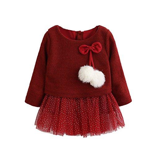 ❤️ Modaworld Vestidos Bebé Niña,Vestido de Princesa Tutu recién Nacido de Punto de Manga Larga de bebé niña Vestidos de Fiesta 0-24 Mes