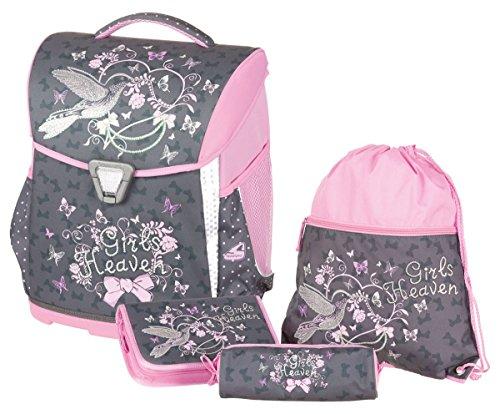 Schneiders ViennaToolbag Basic 4 teiliges Schulranzenset Girls Heaven, Sportbeutel, Federpennal mit 1 Flügel, Schüttelpennal