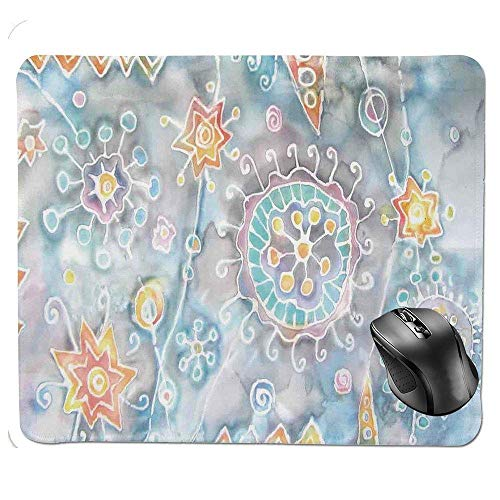 Batik Flower (J5E7JYTE Ergonomic Mouse pad,Free Batik Flower and Star Motifs with Motley Blots and Murky Splashes Fantasy Image Mouse Pad)