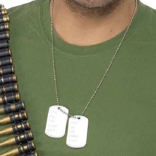 Herren Damen Armee Militär Erkennungsmarken Kostüm (Kostüme Armee Zubehör)