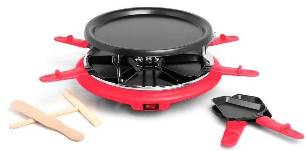 Harper Six - Piastra per Raclette, 6 persone, colore: Rosso