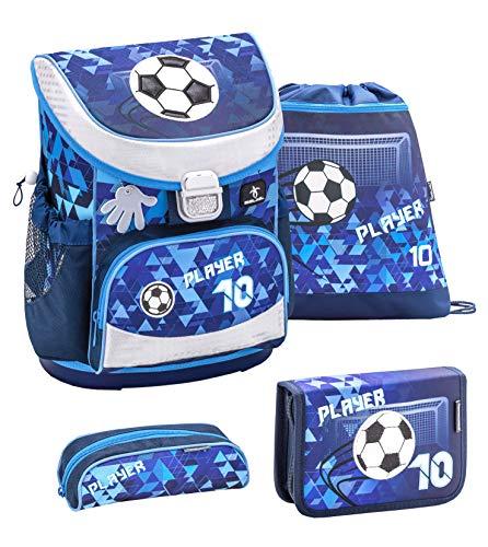 Belmil ergonomischer Schulranzen Set 4 -teilig für Jungen 1, 2 Klasse Grundschule/Super Leicht 760-820 g/Brustgurt/Fußball/blau (405-33 Player)