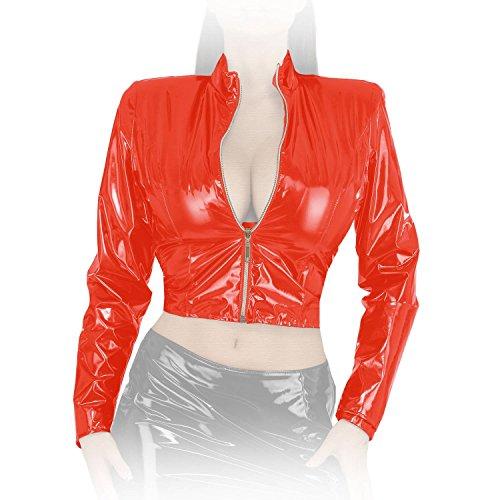 Ledapol - Langärmelige kurze Lack Jacke mit Zip rot - Gr. XXL Kurzer Zip-jacke