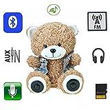 QTMY Multifunktional Teddy Bär Plüsch Bluetooth-Lautsprecher 30 cm Kinder Spielzeug Kabellose Micro SD Speicherkarte Stereo-Lautsprecher FM Radio Akku (Dunkles Kamel)