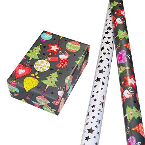 Geschenkpapier Weihnachten Set 2 Rollen (75 x 150 cm), Sterne-Design auf hochglänzendem Metallic-Papier + Motive auf mattgrauem Fond und multifarbigem Glitter. Für...