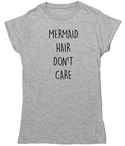 hippowarehouse Meerjungfrau Haar Don 't Care Damen Fitted Short Sleeve T-Shirt Grau - Grau