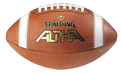 Spalding Alpha Leather Football, Light Brown/Red, Full