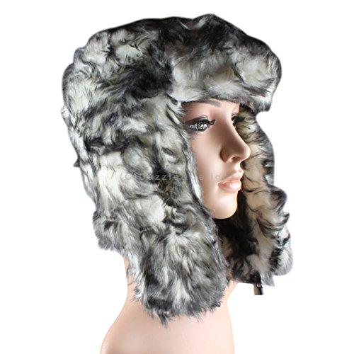 Black/White Fleck Fur Trapper Hat Trapper Hat Russian Cossack Ski