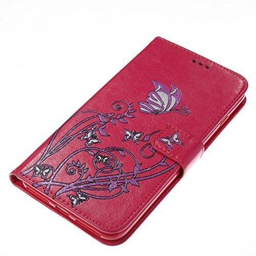 TOYYM iPhone 7 Plus 5,5Zoll Hülle,iPhone 7 Plus Schutzhülle,Ultra Dünn PU Leder Bookstyle Tasche Flip Cover Wallet Brieftasche mit Ständerfunktion Kartenfächer Strap,Narcissus Muster Design Klapphülle Rose Rot