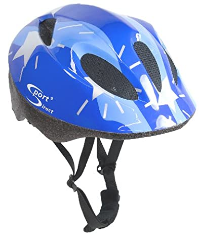 Sport Direct Boy's Silver Stars Bicycle Helmet - Blue, Size 48-52