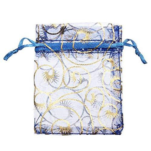 Bluelover 100Pcs Organza Gift Pouch Schmuck Gift Candy Bag Packing Drawable Wedding Party Geschenkbeutel - Blau