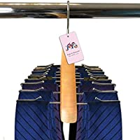 P&R Premium Quality Wooden Tie Hanger For Men Rack Organizer - Holds 24 Ties