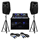"DJ PA-Anlage Set ""Urban Trip-Hop Beats"" Komplettsystem PA-Sound-System 1000 W mit PA-Verstärker und 4-Kanal-Mischpult (Doppel-CD-USB-SD-Player, Boxen-Stativ, Kabel-Set) schwarz"