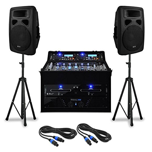 "DJ PA-Anlage Set \""Urban Trip-Hop Beats\"" Komplettsystem PA-Sound-System 1000 W mit PA-Verstärker und 4-Kanal-Mischpult (Doppel-CD-USB-SD-Player, Boxen-Stativ, Kabel-Set) schwarz"
