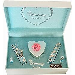 Divinity Ladies Watch & Bracelet Jewellery Aqua Heart I Love You Xmas Gift Set