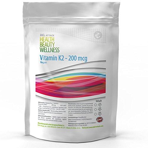 250 Tabletten (250 / 500 Tabletten (vegan) á 200µg • Vitamin K2 • natürliches MK-7 Menachinon • Für die Blutgerinnung und den Calciumspiegel • Unterstützung für die Knochen (500))