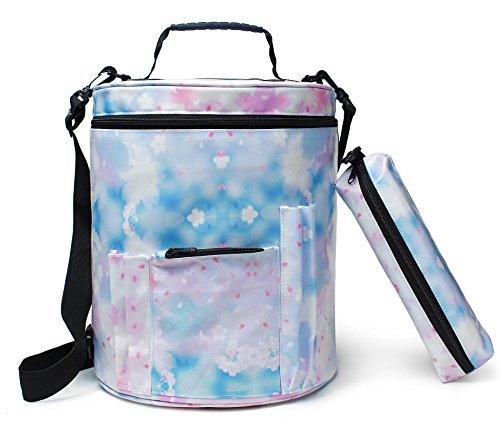 DCCN Wolle Stricktasche Zur Aufbewahrung Von Wolle Aufbewahrungstasche Tragbare Strickwolle Tasche Strickzeug Handarbeitstasche zum Stricken Blau