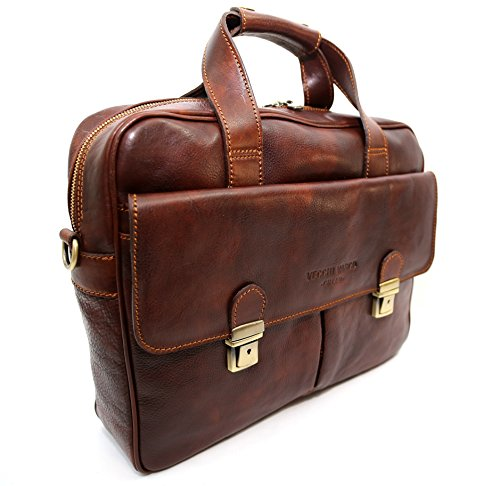 Tasche aus Echtem Leder, Gegerbt Natur, Barletta, Made in Italy, Leder CREEO Leder Braun