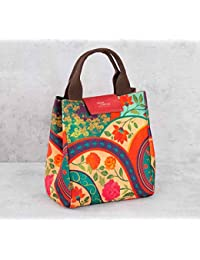 India Circus Canvas And Faux Leather Floral Embroidered Lunch Bag, 9.5x6x10 Inches (Multicolour)