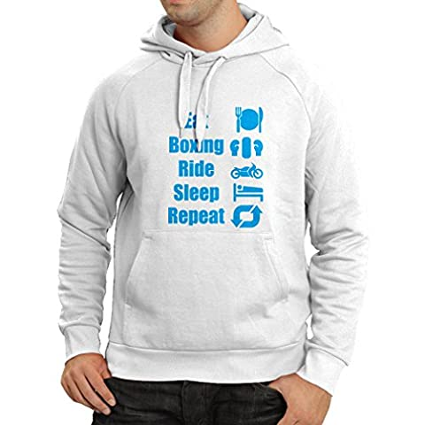 Hoodie Eat Boxing Ride Sleep Repeat - motivational sports quotes (Medium White Blue)