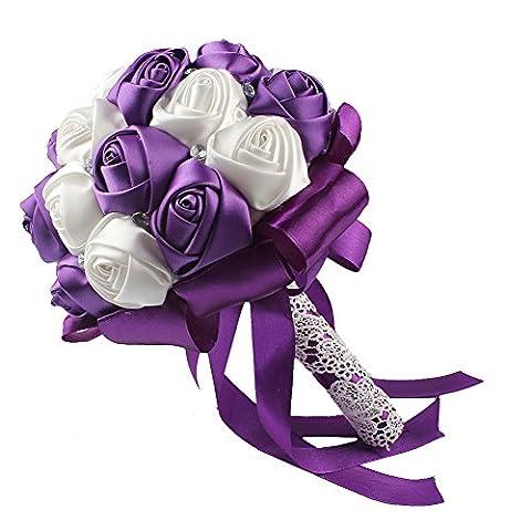 OurWarm Wedding Bouquet Silk Artificial Flowers Bridal Wedding Decorations Satin Roses Purple