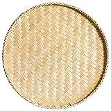 ROKTONG Cestello Portaoggetti di Cestello,Vassoio Intrecciato di bambù da Cucina Tondo Fatto A Mano Piatto per Famiglie Grande Gnocchi Vassoio Setaccio di bambù di bambù 30 Cm