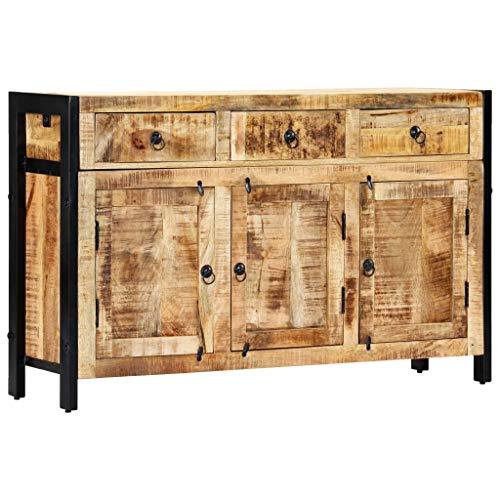 vidaXL Mangoholz Massiv Sideboard 3 Schubladen Handgefertigt Kommode Standschrank Mehrzweckschrank Beistellschrank Anrichte Schrank 120x35x76cm